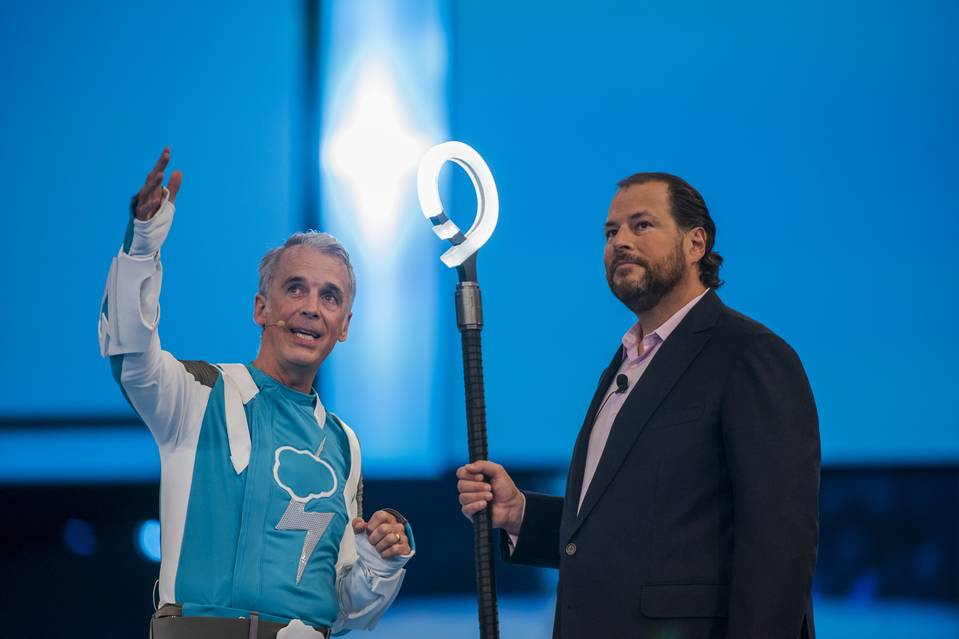 Salesforce co-founder Parker Harris, left, and CEO Marc Benioff at the Dreamforce Conference in San Francisco on Wednesday.