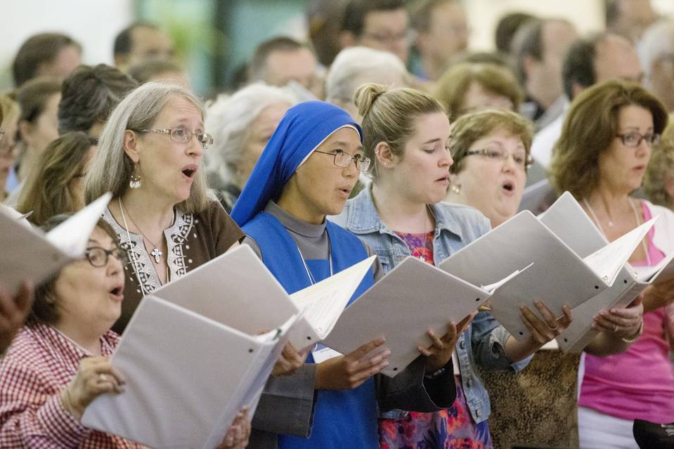 In preparation for the Sept. 22-27 papal visit to the U.S., members of the 90-voice Archdiocesan Papal Mass Choir recently rehearsed for a Mass to be celebrated by Pope Francis at St. Mark the Evangelist Catholic Church in Hyattsville, Md.