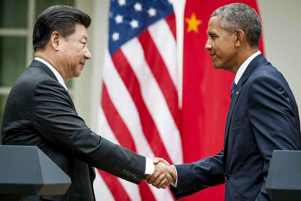 Chinese President Xi Jinping and U.S. President Barack Obama at a joint news conference in Washington, D.C. on Sept. 25.