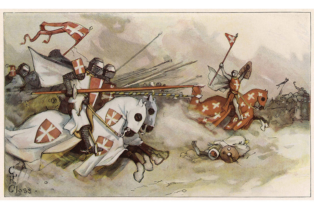 During the First Crusade (1096-99), the Christian Knights of Saint John launch a cavalry charge against the Muslim Saracens, as rendered by Adolf Closs, 'Ueber Land und Meer' (1900).