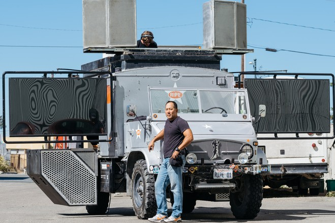 CAPTIONS<br>  Steve Hwang, a member of the San Francisco-based art and music collective Space Cowboys,' with the group's Mog—a fully-mobile sound and video party machine—photographed here in Oakland, Calif.