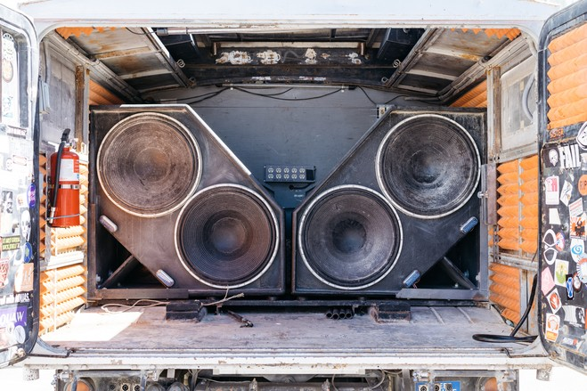 The subwoofers fold into the cab for safe transportation.