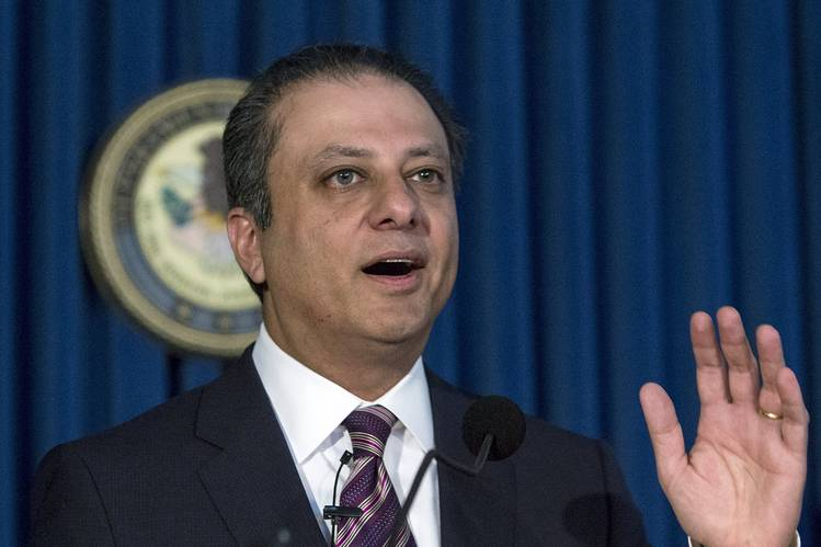 United States Attorney Preet Bharara at the U.S. Attorney's Office for the Southern District of New York in Manhattan, New York, October 6, 2015.