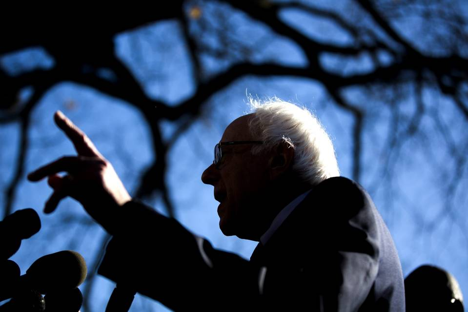 Sen. Bernie Sanders, the candidate for the Democratic presidential nomination, speaks about fossil fuels outside the U.S. Capitol in Washington, D.C., on Wednesday.