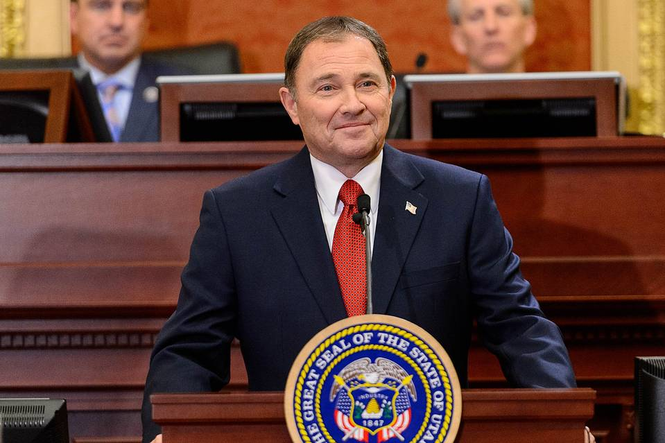 Utah's Republican Gov. Gary Herbert delivers the State of the State address in Salt Lake City, Jan. 28.