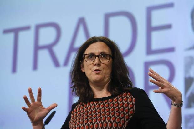 European Commissioner for Trade Cecilia Malmstrom giving a press briefing at the European Commission in Brussels on Oct. 14.