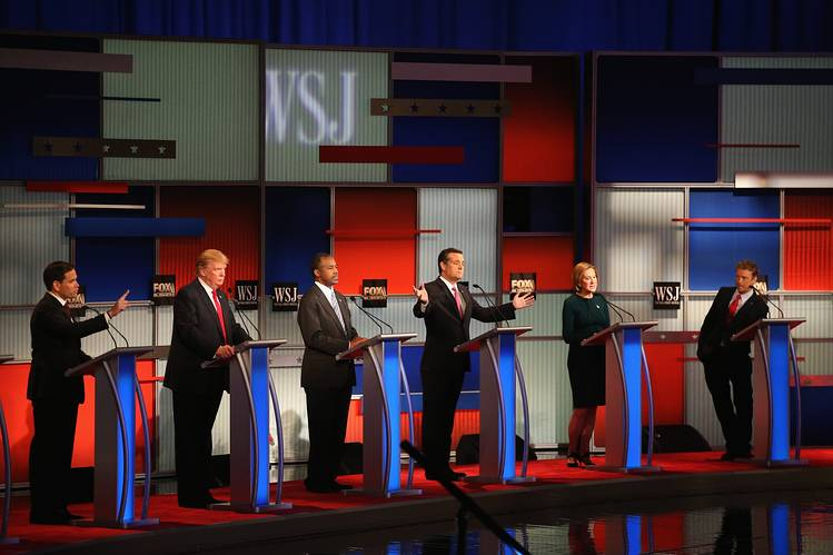 The Republican candidates on the main stage at the Nov. 10 debate in Milwaukee.