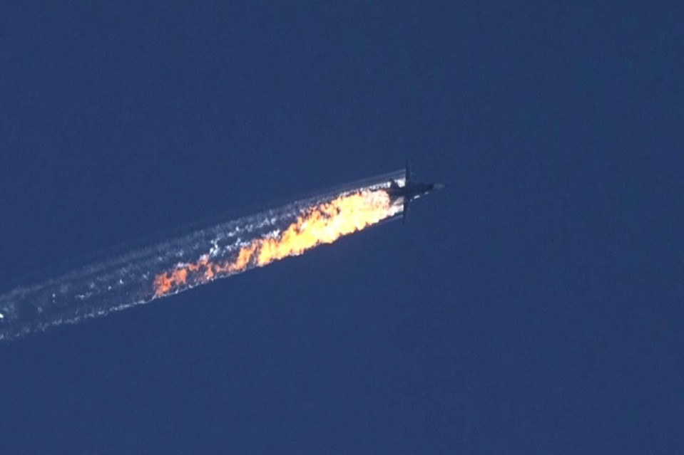 A Russian jet fighter is shot down over the Turkish-Syrian border on Tuesday.
