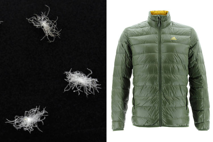 Adidas light down jacket, right, and the down used for insulation, left. Published Credit: Adidas Outdoor