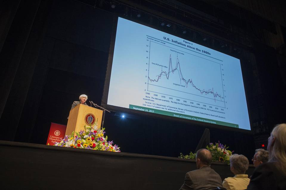 "Fed Chair Janet Yellen, in a speech at the University of Massachusetts Amherst in September, acknowledged ""significant uncertainty"" about her prediction that inflation would rise."