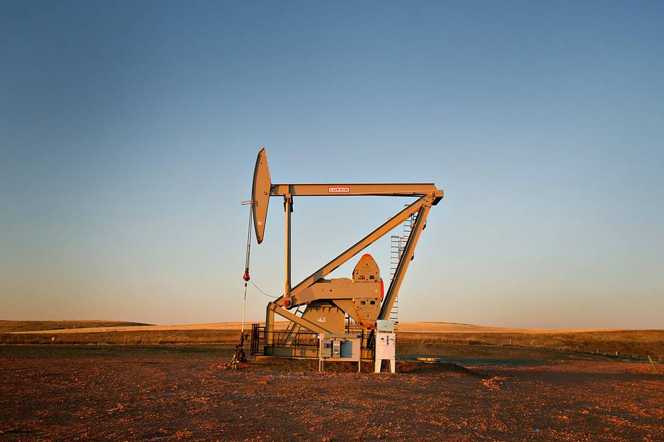 An electric pumping unit removed crude oil from a Fidelity Exploration & Production Co. well outside South Heart, N.D. on Feb. 10.