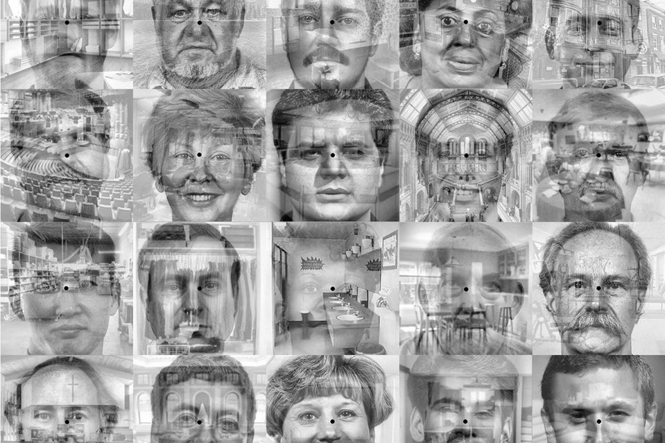 Images of faces superimposed on scenes were used in a study of neurofeedback for depressed patients at the University of Texas at Austin to train patients to disengage from negative stimuli.
