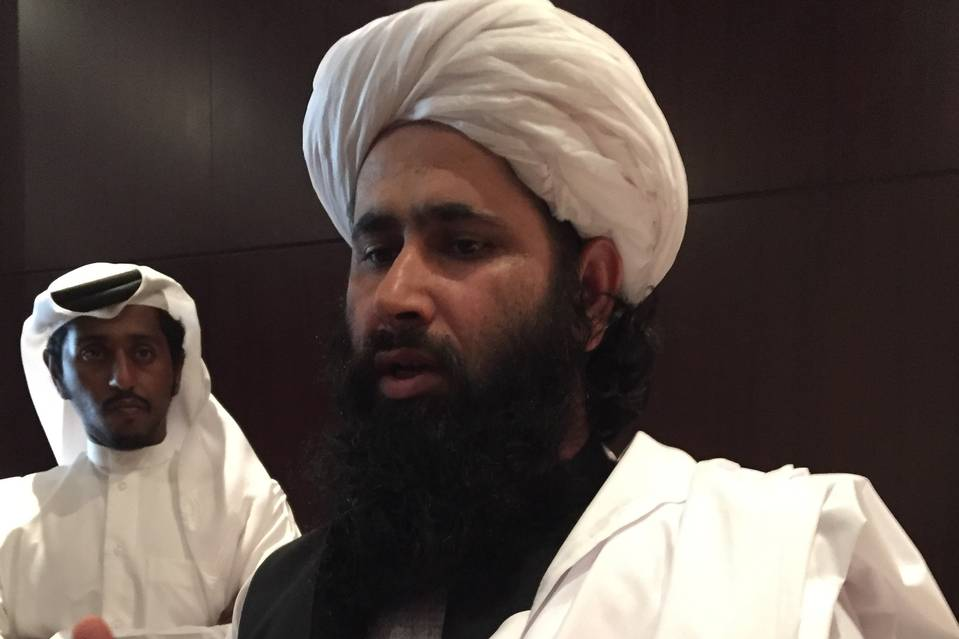 Mohammad Naim Wardak, a Taliban delegation member, speaking in Doha on Sunday.