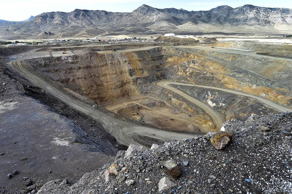 An open pit mine is shown at Molycorp's rare-earth facility in Mountain Pass, Calif., in June.
