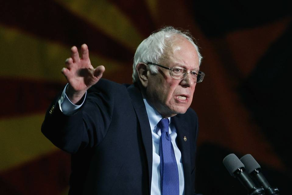 Democratic presidential candidate Sen. Bernie Sanders speaking March 15 in Phoenix, Ariz.