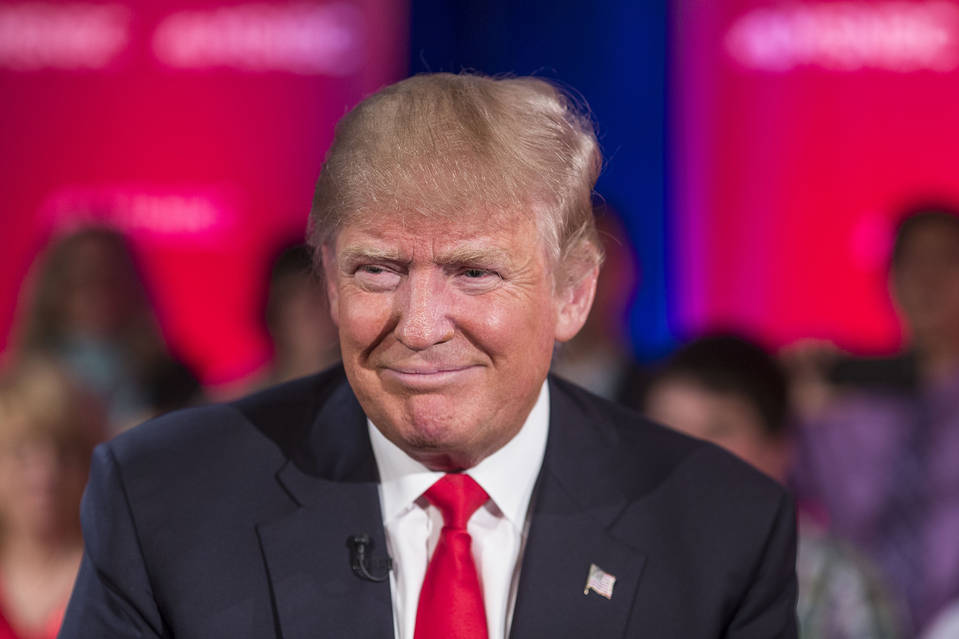 Donald Trump films a town hall meeting for MSNBC on the University of Wisconsin Green Bay campus on March 30.