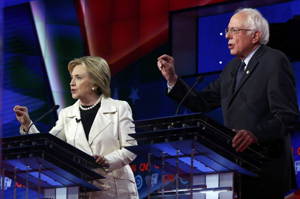 Former Secretary of State Hillary Clinton and Sen. Bernie Sanders during a Democratic debate in Brooklyn on April 14.