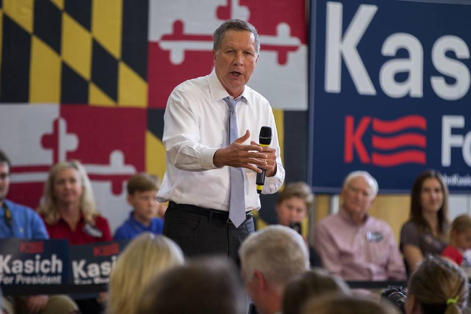 Ohio Gov. John Kasich speaks during a town hall at a community center in Rockville, Md., on April 25.