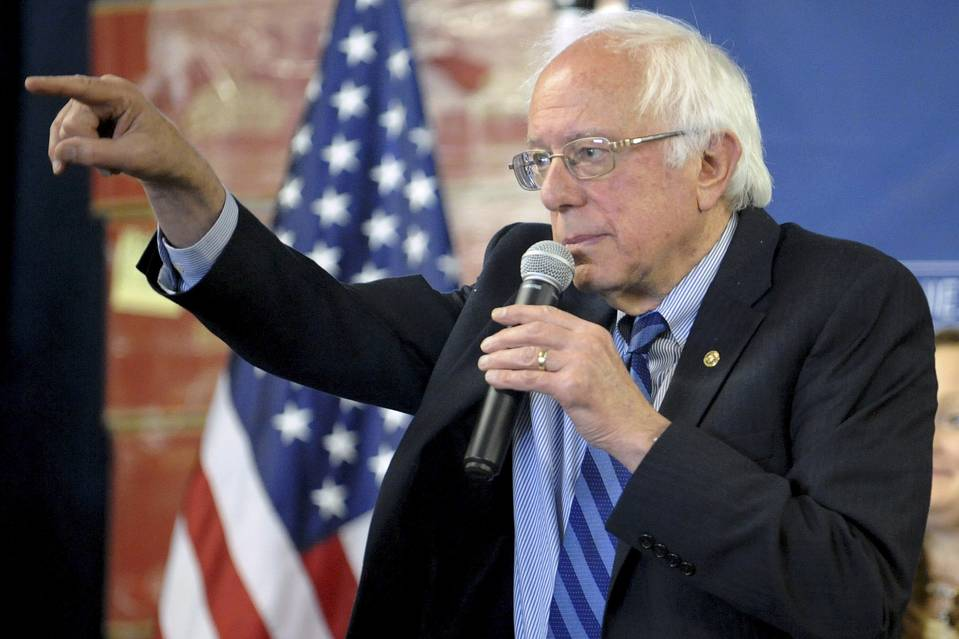 Bernie Sanders addresses a town hall campaign event in Welch, W.Va. on Thursday.
