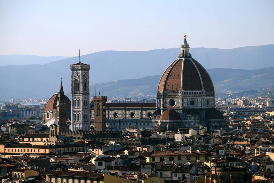 "The city of Florence with the ""Duomo"" of the cathedral Santa Maria del Fiore"