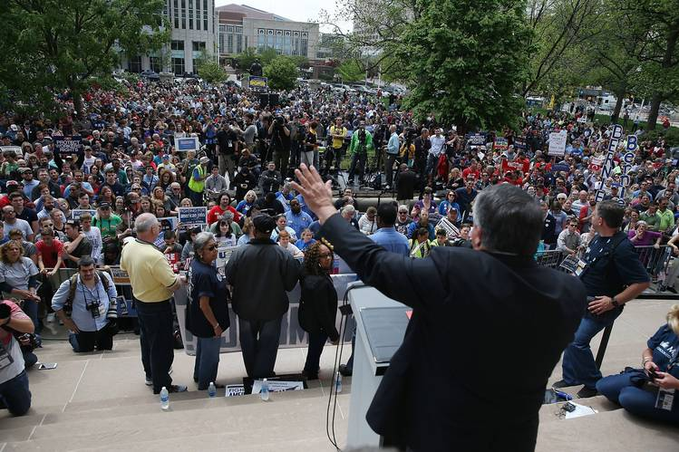 AFL-CIO President Richard Trumka speaks during a union workers protest in April in Indianapolis.