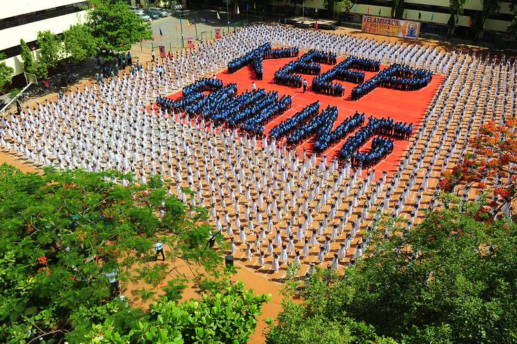 A yoga session at a school in Chennai Monday.