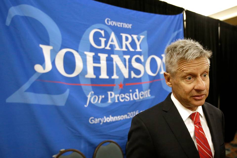 Libertarian presidential candidate Gary Johnson speaks to supporters and delegates at the national party convention in May.