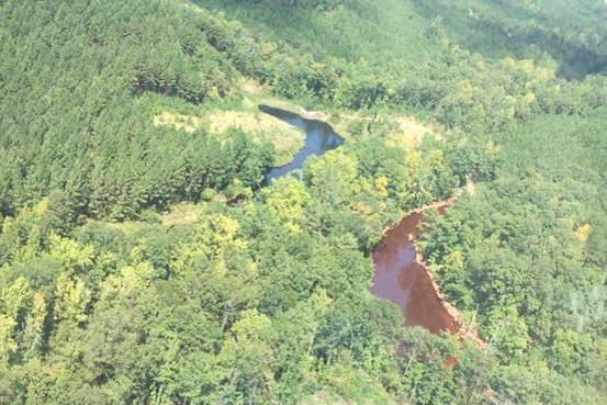 Aerial photo of mine water retention ponds at the site of a gasoline spill in Alabama. PHOTO: COLONIAL PIPELINE.