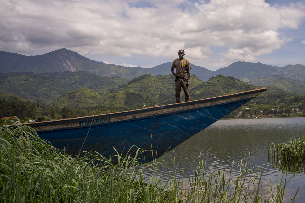 A boat docked on Lake Kivu in Minova, Congo, near a coffee-growing cooperative.
