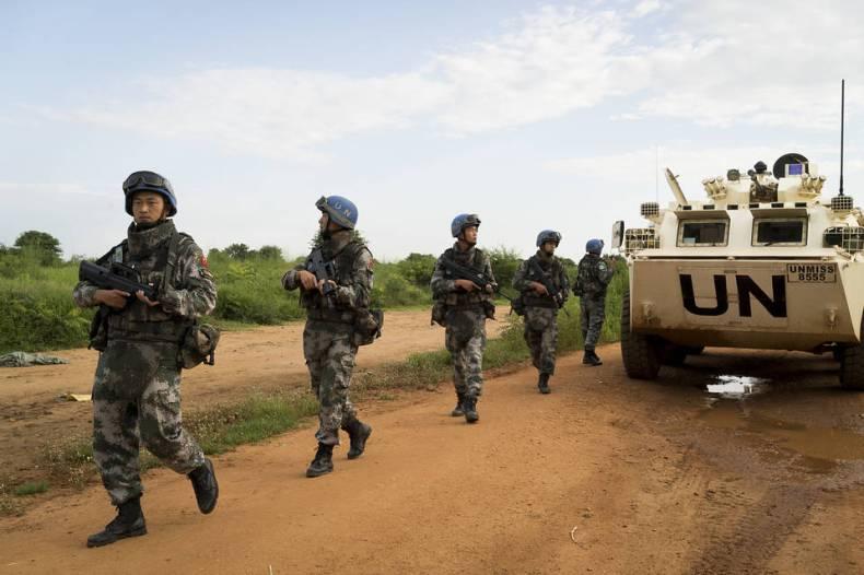 南スーダンの首都ジュバで国連平和維持活動(PKO)に参加する中国派遣部隊
