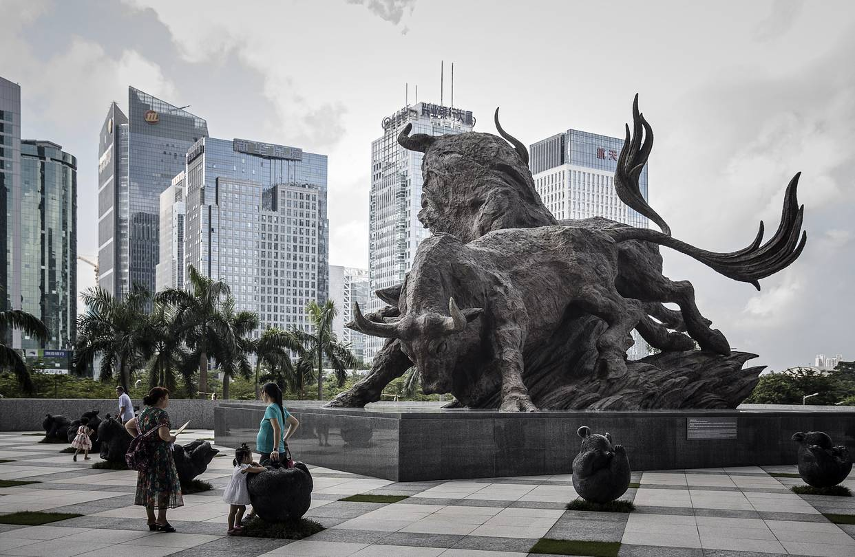 shenzhen stock exchange diagram wiring for a kenwood car stereo single sends china shares tumbling in chain reaction wsj sculpture of bulls stands near the entrance to building