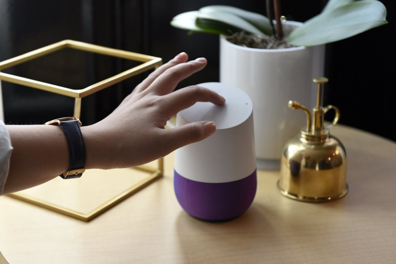 A demonstration of Google's Home speaker at the product's launch in October 2016.