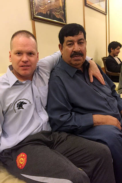 John Allen with former Afghan warlord Gul Agha Sherzai in June 2016.
