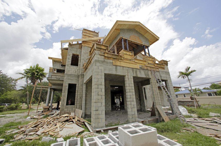 A home under construction in Miami Springs, Fla., in June.
