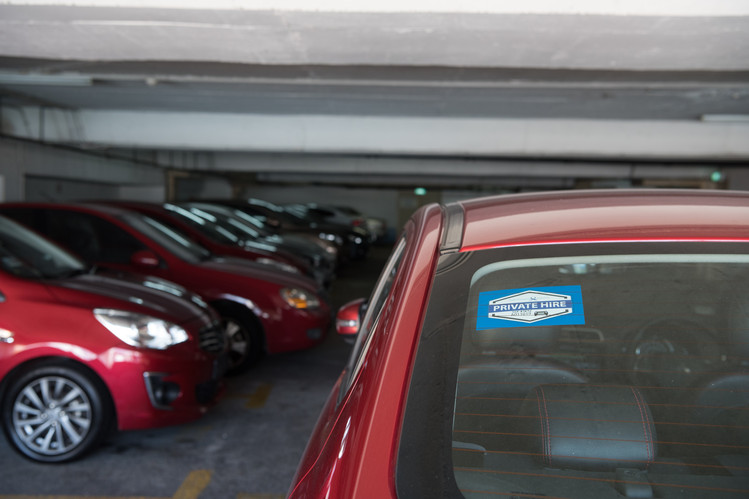 A Land Transport Authority 'private hire' sticker in Singapore this week.