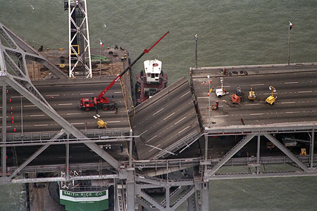 a section collapsed on the eastern span of the bridge during the 1989 loma prieta earthquake and the eastern portion of the bridge opened nearly two years