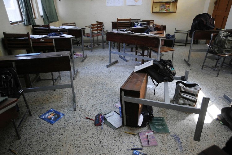 A Pakistan school after Islamic gunmen killed 132 students on Dec. 16.