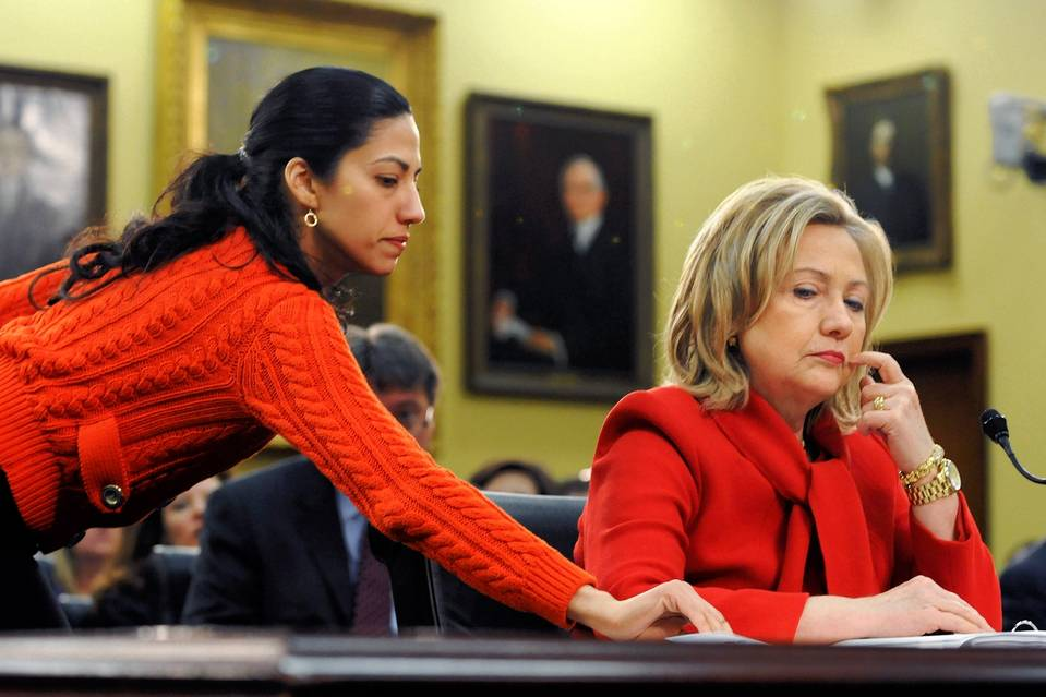 Hillary Clinton, then-secretary of state, and aide Huma Abedin in 2011.