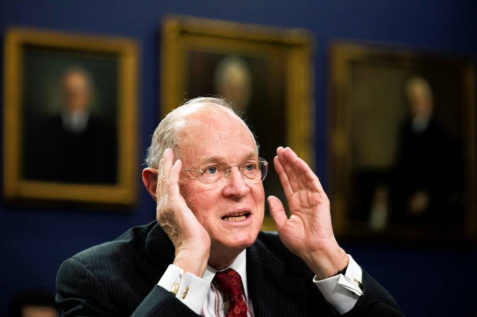 Supreme Court Justice Anthony Kennedy on Capitol Hill, March 23.