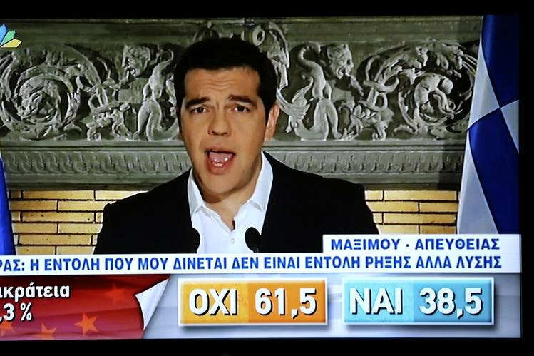 Greek Prime Minister Alexis Tsipras celebrates his political victory.