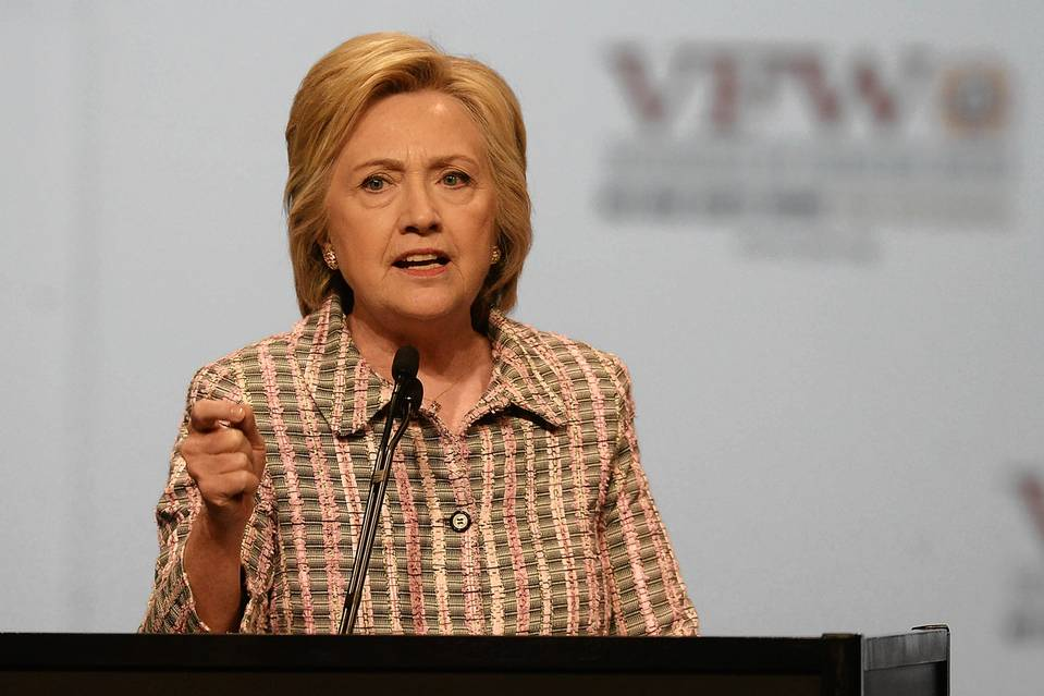 Hillary Clinton addresses the 117th annual VFW National Convention at the Charlotte Convention center on July 25