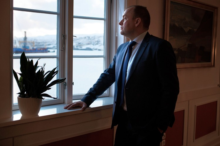 Faeroe Islands Prime Minister Kaj Leo Holm Johannesen, shown in his office, lobbied hard to expand salmon sales to Russia after Moscow stopped buying the fish from Norway, as part of tit-for-tat sanctions over the Ukraine crisis.
