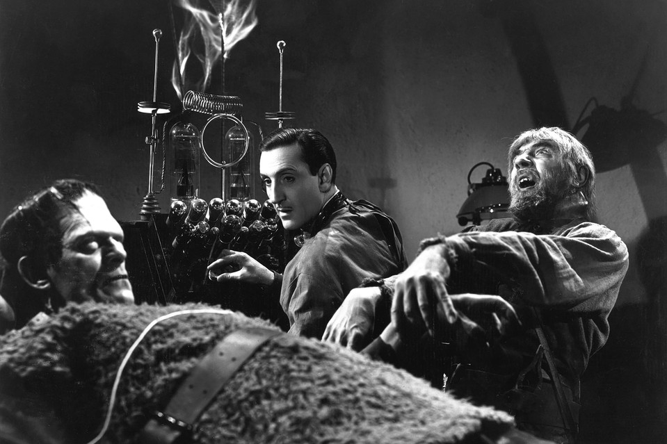 Boris Karloff, Basil Rathbone and Bela Lugosi in 'Son of Frankenstein' (1939).