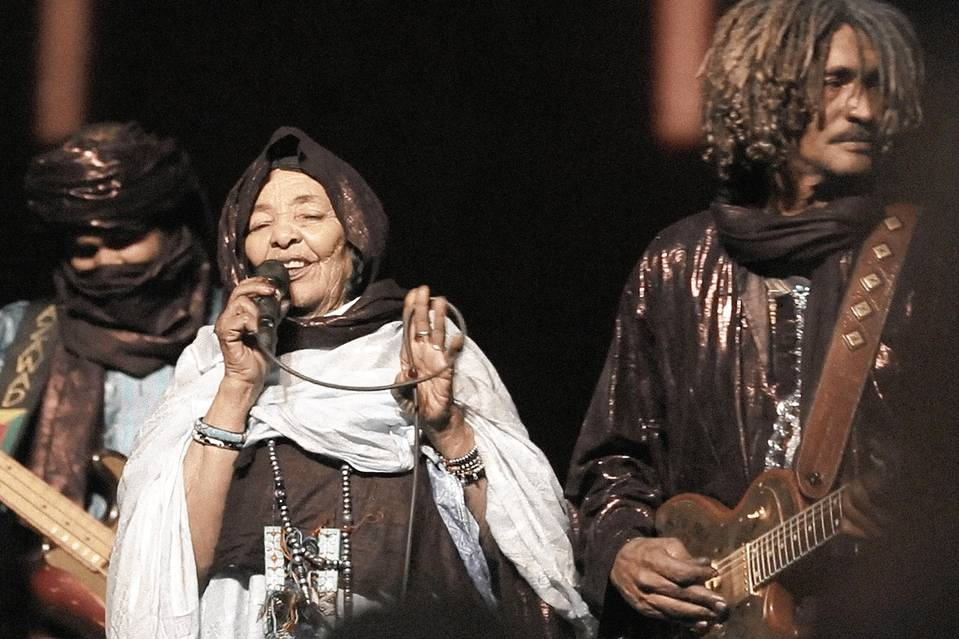Tinariwen in the concert recorded for their latest album.