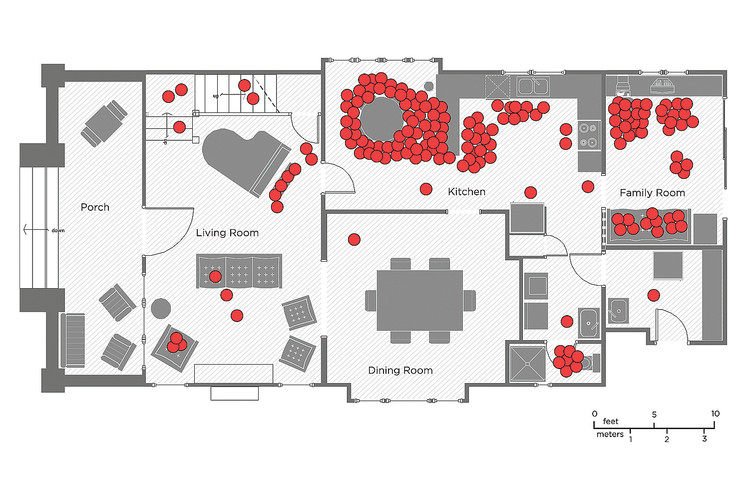 Map showing the location of each parent and child on the first floor of the house of 'Family 11' every 10 minutes over two weekday afternoons and evenings