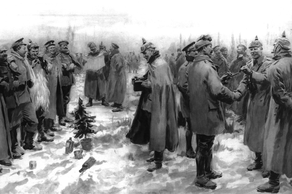 'The Christmas Day Truce of 1914,' a lithograph by Arthur C. Michael published on Jan. 9, 1915, shows British and German soldiers out of the trenches of World War I, arm in arm and exchanging headgear.