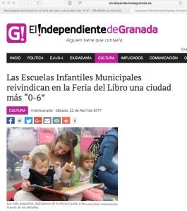 Noticia sobre la particicpación de Si 0-6 granada en La feria del Libro 2017 en elindependientedegranada.es