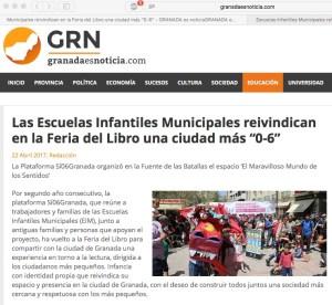 Noticia sobre la particicpación de Si 0-6 granada en La feria del Libro 2017 en granadaesnoticia.com