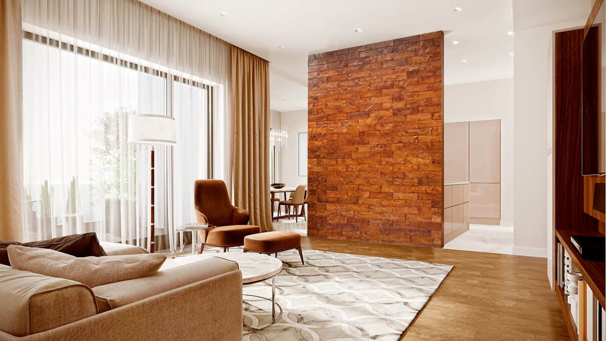 Tempered Corona Leather Tile Living Room Accent Wall Realstone Systems