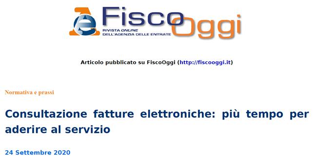 FTEL37 octies – Nuova proroga al 28.02.2021 per l'adesione al Servizio di Consultazione e Acquisizione delle e-fatture